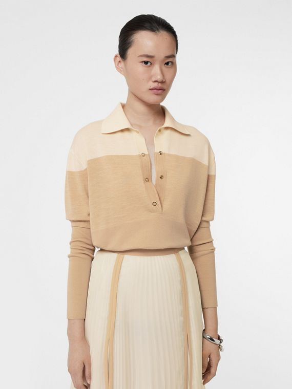 Long-sleeve Two-tone Wool Polo Shirt in Light Maize