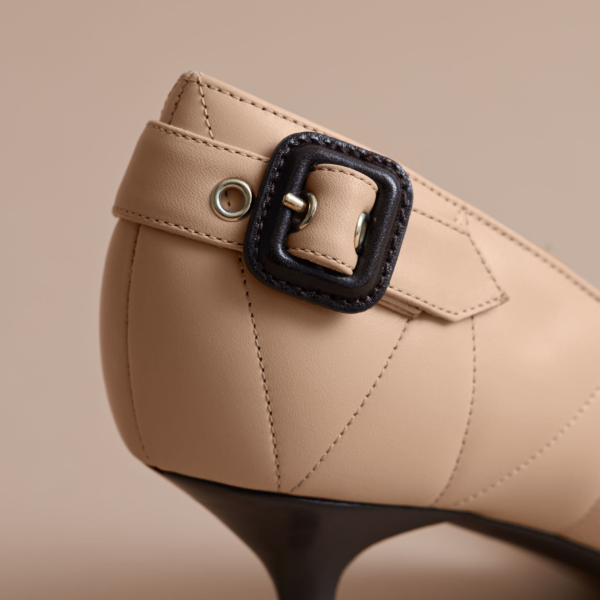 Quilted Leather D'Orsay Pumps in Pale Taupe - Women | Burberry Singapore - gallery image 2