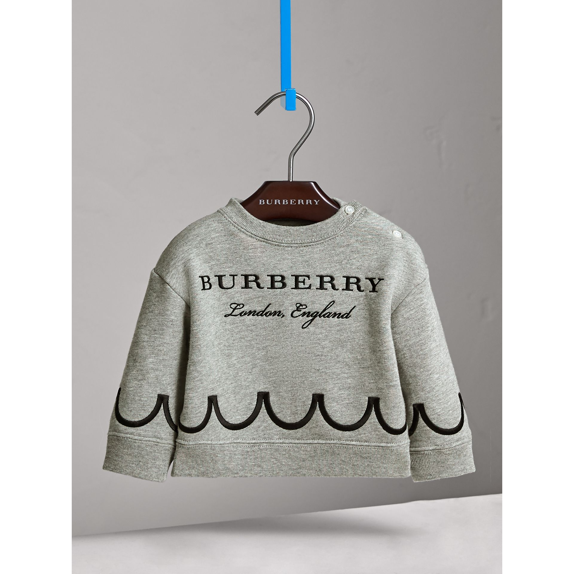 Scallop Detail Cotton Jersey Sweatshirt in Grey Melange | Burberry - gallery image 3