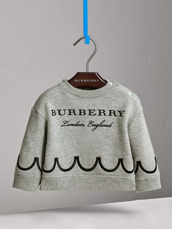 Scallop Detail Cotton Jersey Sweatshirt in Grey Melange | Burberry - cell image 2