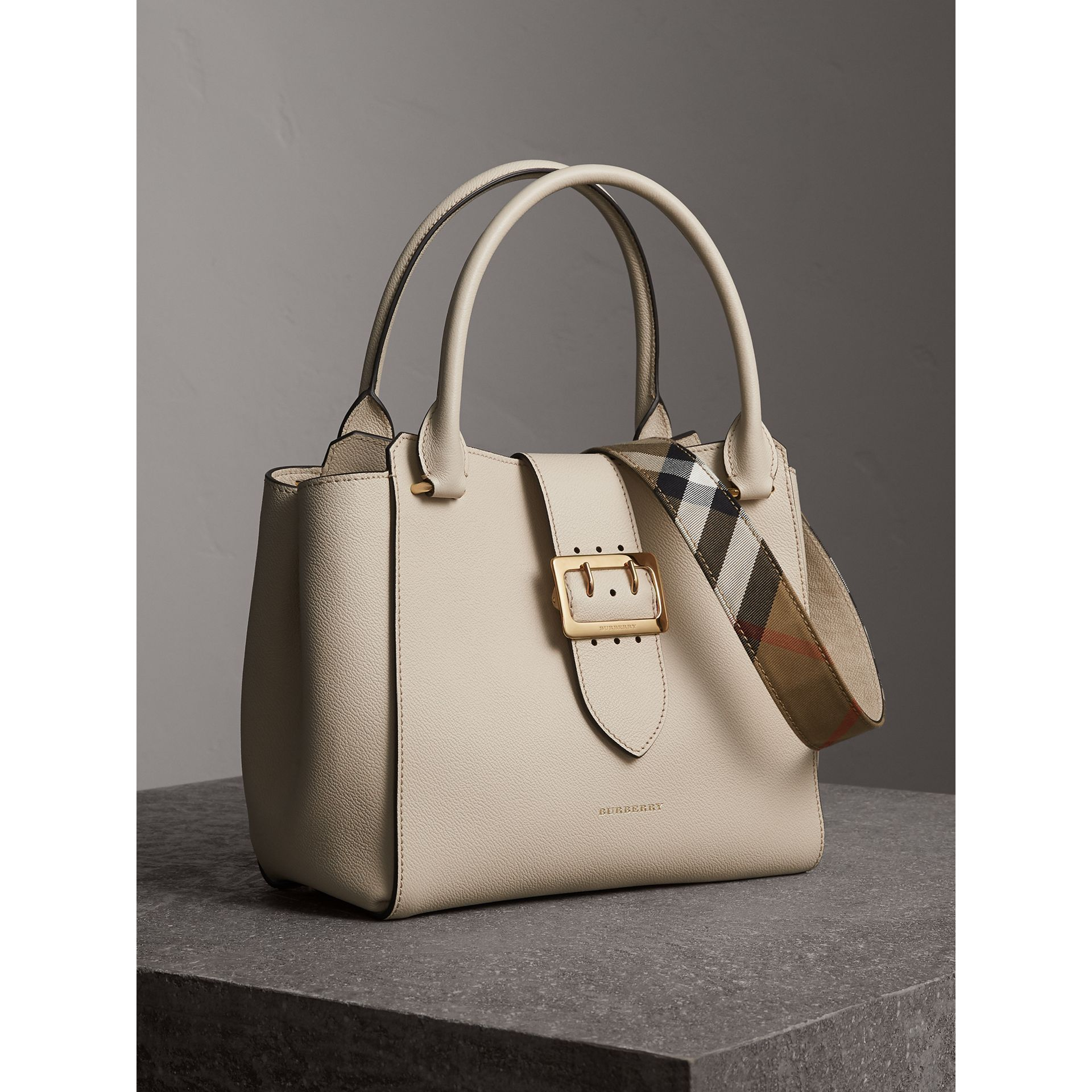 The Medium Buckle Tote in Grainy Leather in Limestone - Women | Burberry - gallery image 7