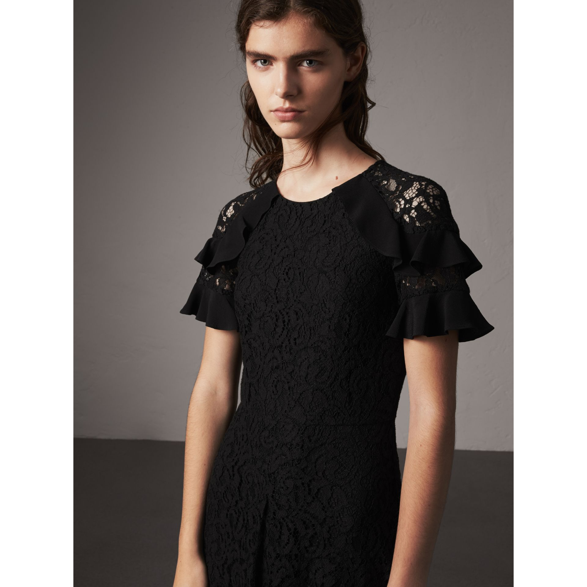 Ruffle Detail Floral Lace Dress in Black - Women | Burberry - gallery image 5