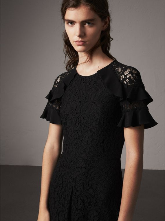 Ruffle Detail Floral Lace Dress in Black