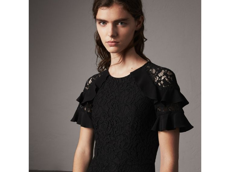 Ruffle Detail Floral Lace Dress in Black - Women | Burberry - cell image 4