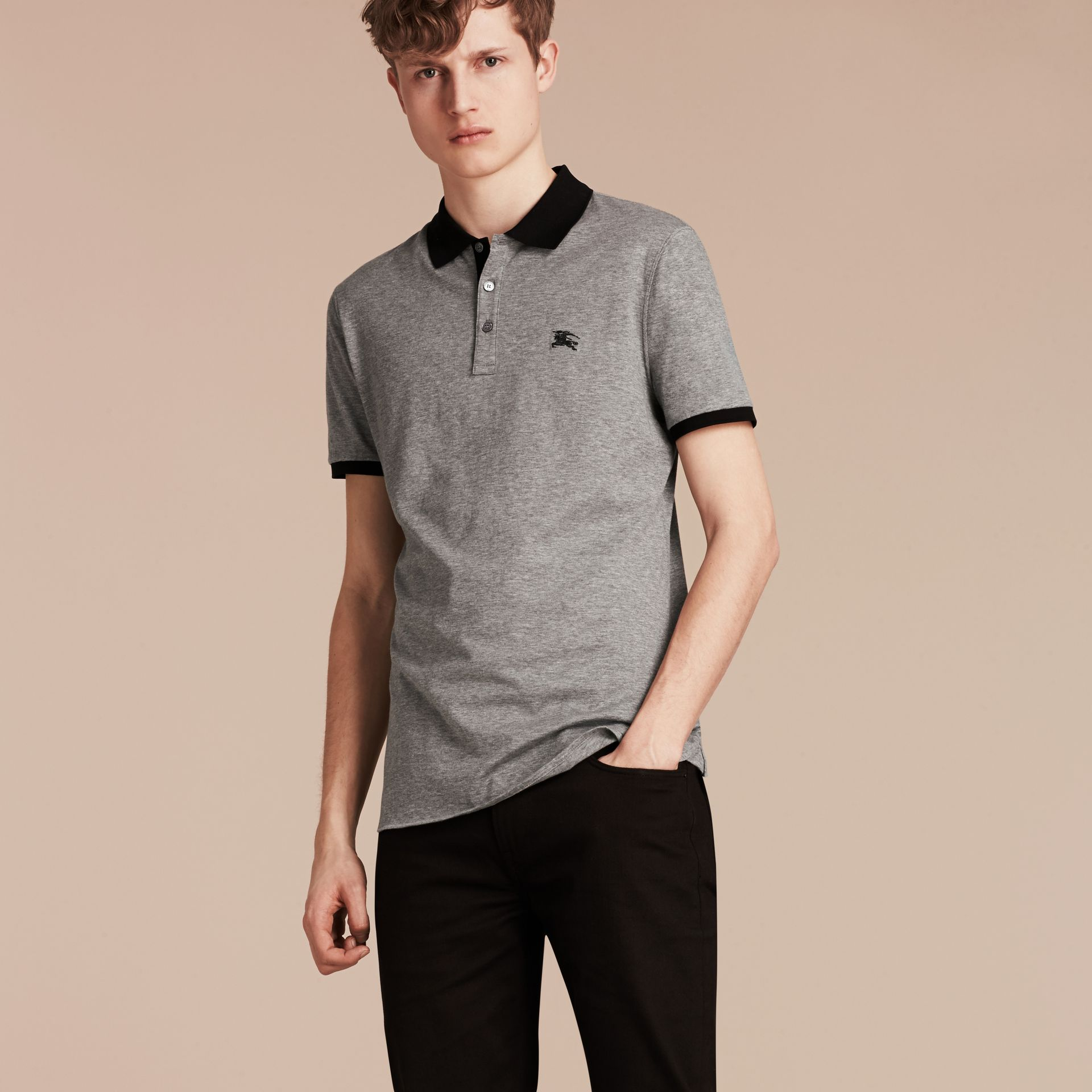 Mid grey melange Fitted Cotton Polo Shirt with Tonal Trim Mid Grey Melange - gallery image 6