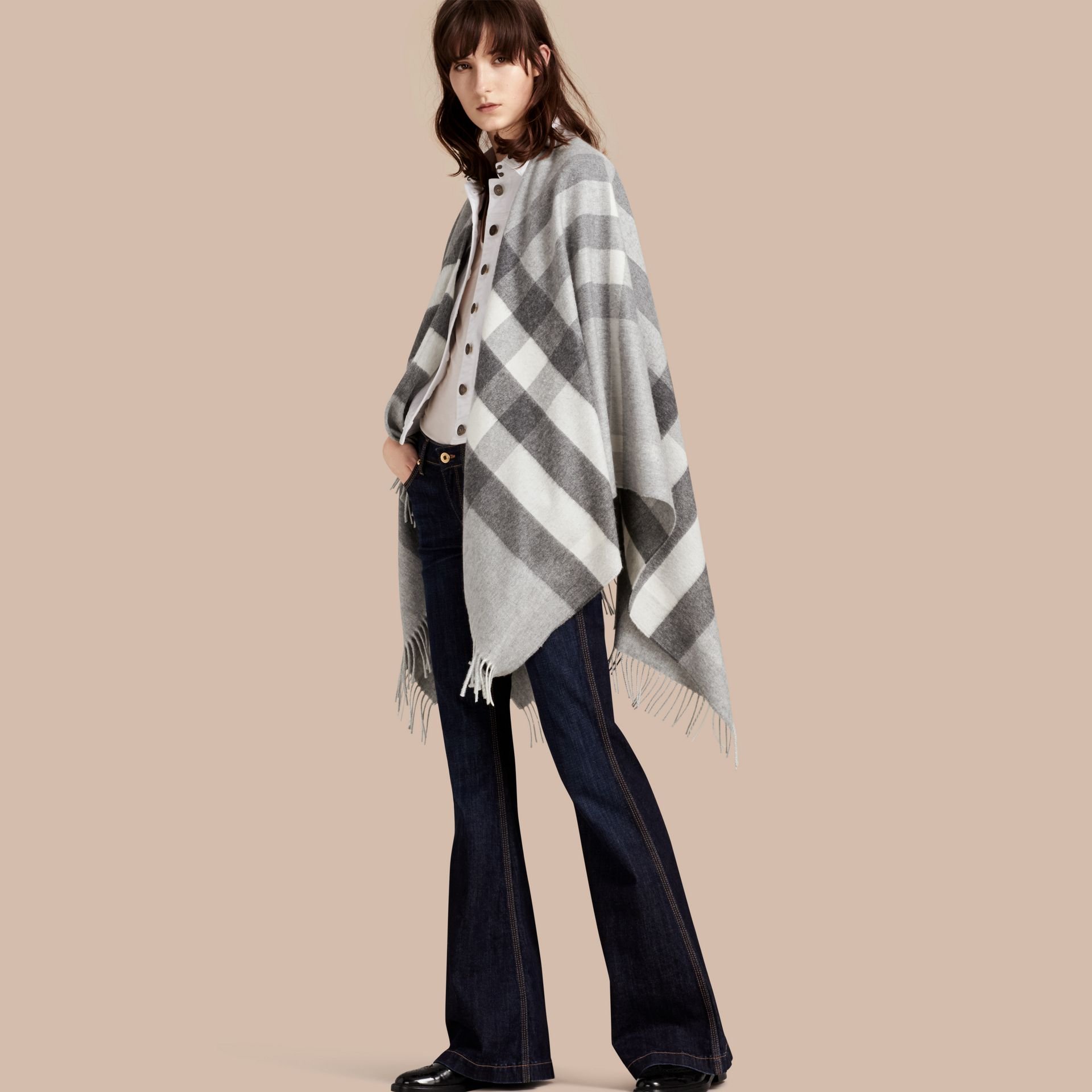 Check Cashmere and Wool Poncho in Pale Grey - Women | Burberry - gallery image 1