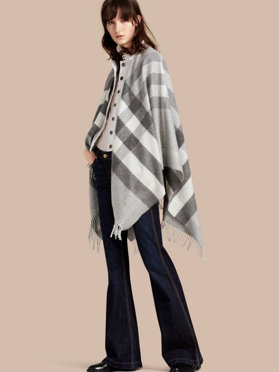 Check Cashmere and Wool Poncho in Pale Grey
