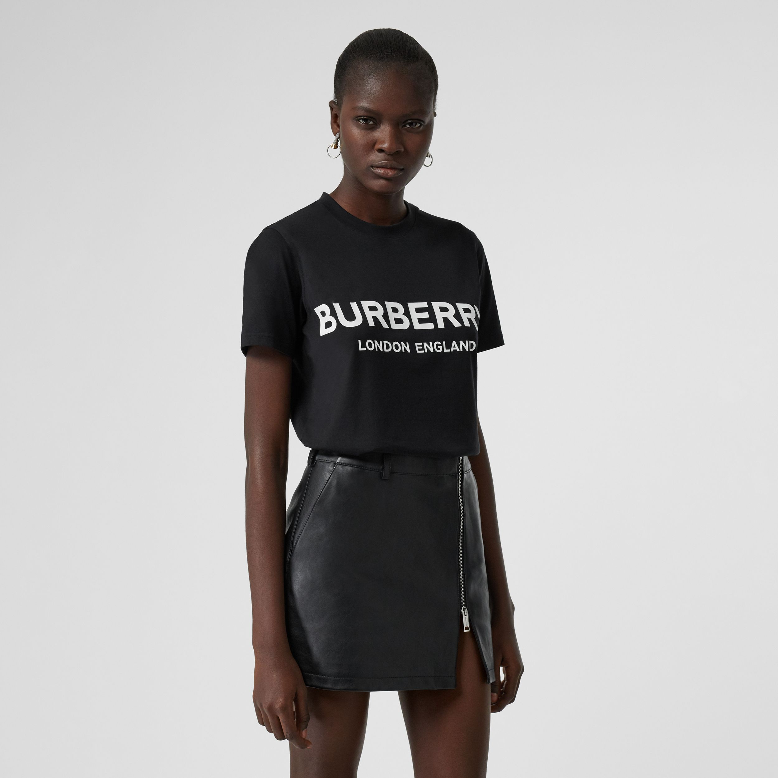 Logo Print Cotton T-shirt in Black - Women | Burberry - 1