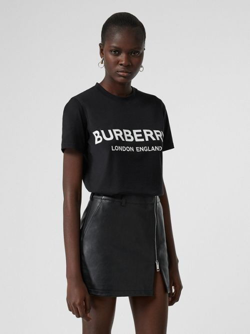 Burberry T-shirt In Cotone Con Logo In Black
