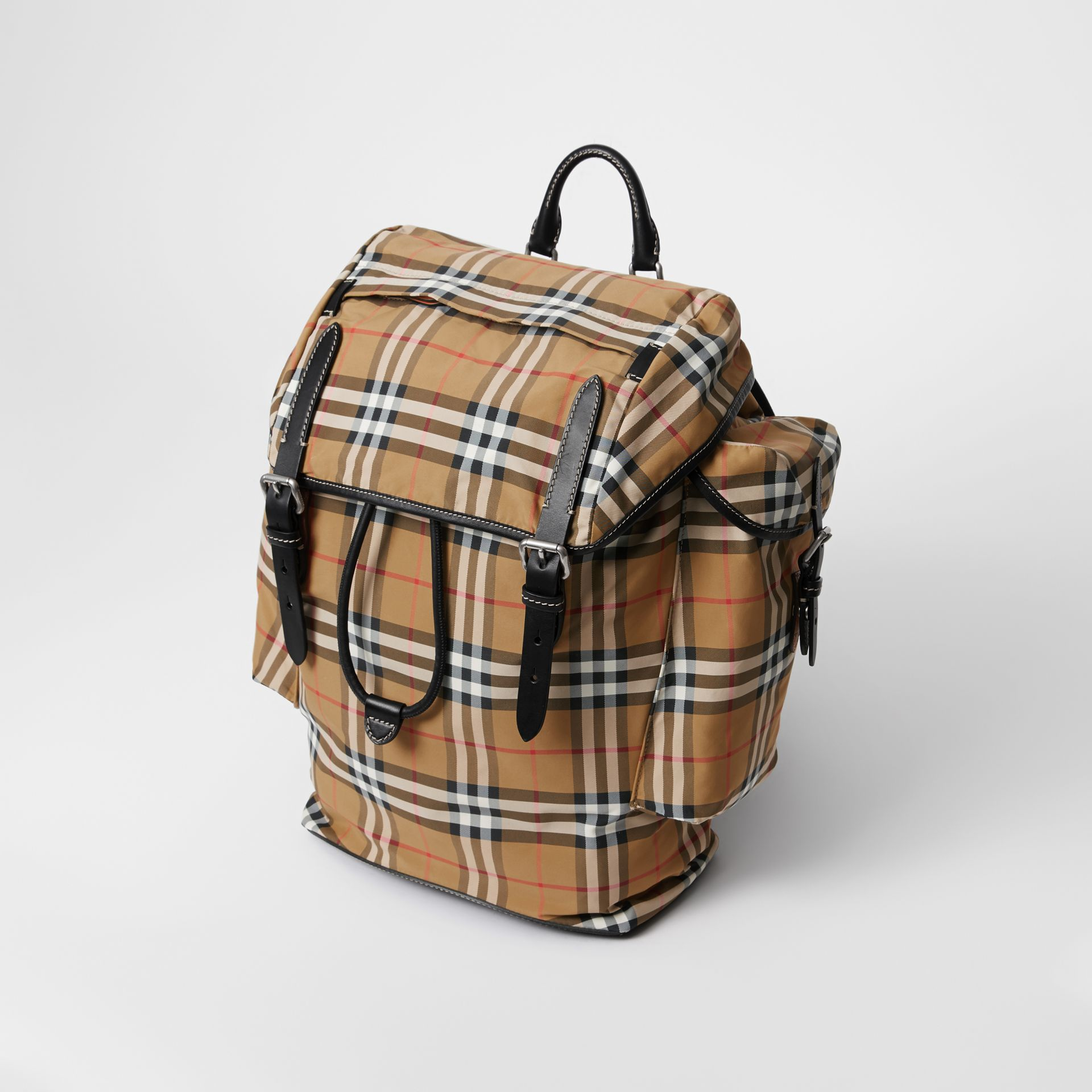 Vintage Check and Leather Backpack in Antique Yellow - Men | Burberry - gallery image 4