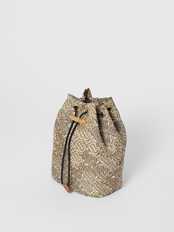Monogram Print Nylon Drawcord Pouch in Beige - Women | Burberry - cell image 3