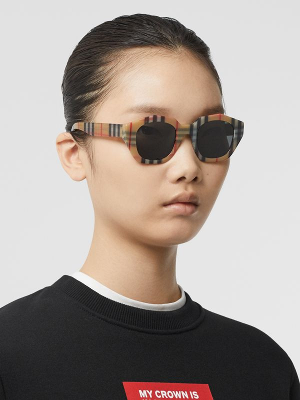 Vintage Check Geometric Frame Sunglasses in Antique Yellow - Women | Burberry - cell image 2