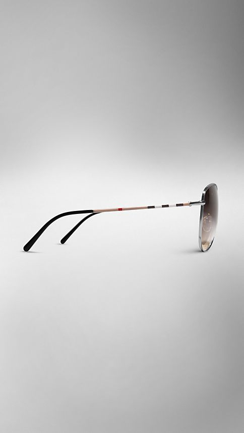 Nickel Check Arm Aviator Sunglasses - Image 4