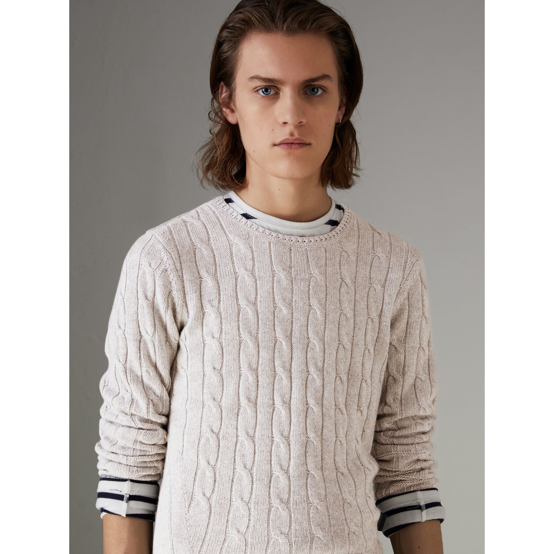 Cable Knit Cotton Cashmere Sweater in Light Grey Melange - Men | Burberry - gallery image 4