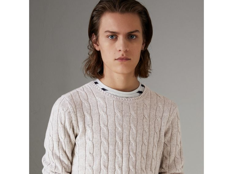 Cable Knit Cotton Cashmere Sweater in Light Grey Melange - Men | Burberry - cell image 4