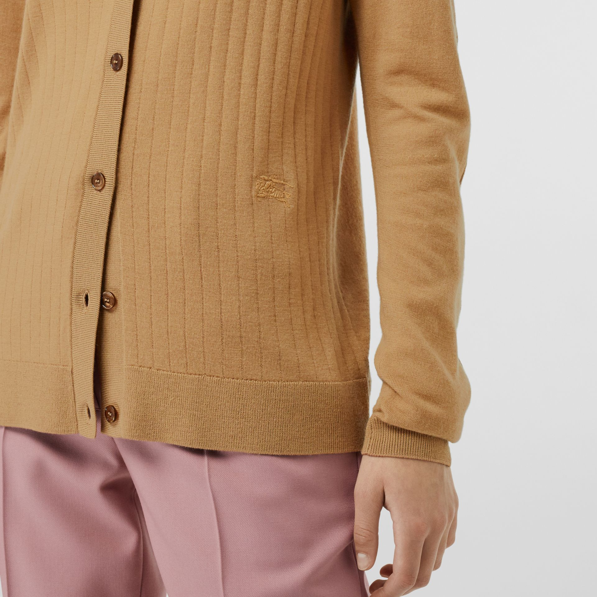 Rib Knit Cashmere Cardigan in Camel - Women | Burberry Hong Kong - gallery image 1