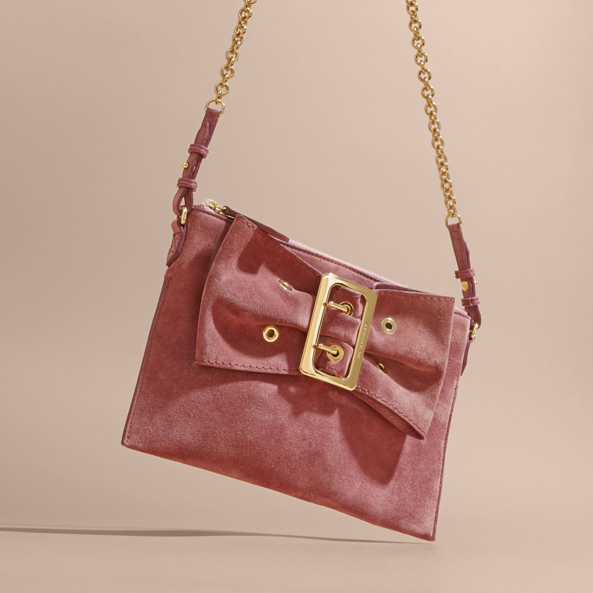 Suede Clutch Bag with Buckled Bow Detail Dusty Pink - gallery image 8