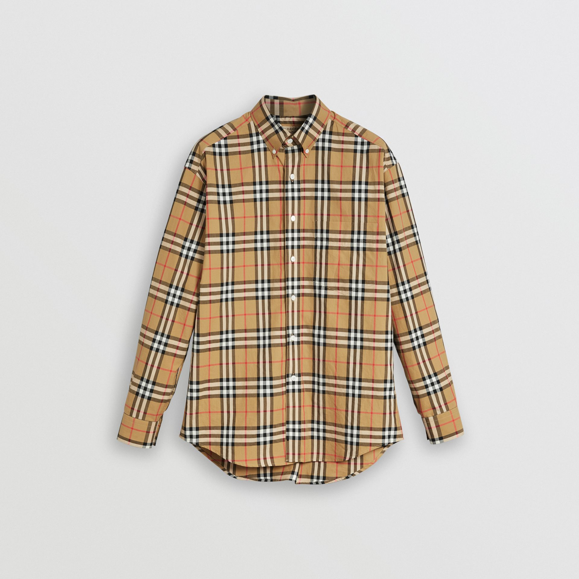 Button-down Collar Vintage Check Cotton Shirt in Antique Yellow - Men | Burberry Singapore - gallery image 3