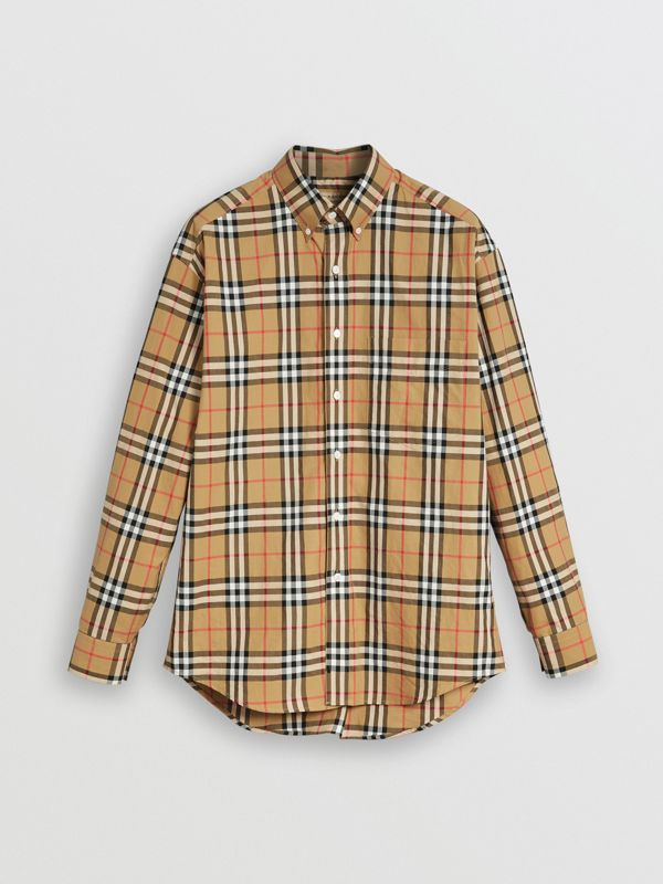 Button-down Collar Vintage Check Cotton Shirt in Antique Yellow - Men | Burberry Singapore - cell image 3