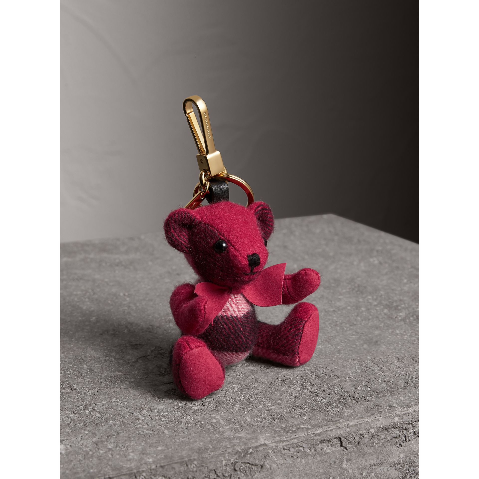 Thomas Bear Charm in Check Cashmere in Fuchsia Pink | Burberry Hong Kong - gallery image 1