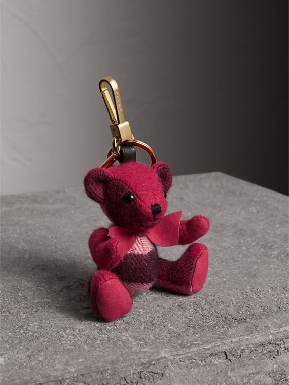 Thomas Bear Charm in Check Cashmere in Fuchsia Pink