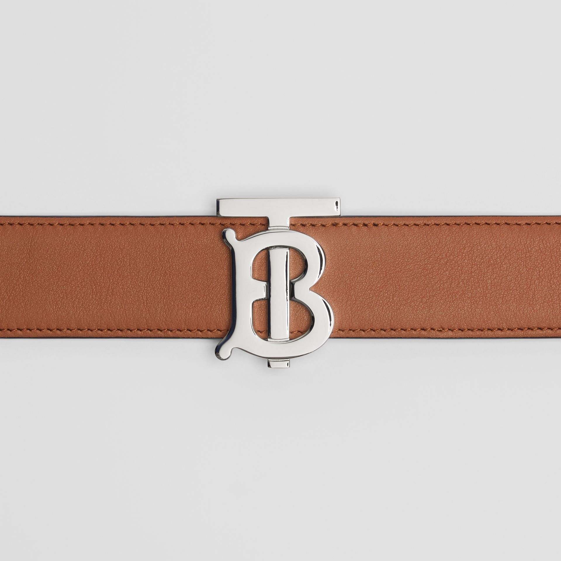 Reversible Monogram Motif Leather Belt in Malt Brown/black - Women | Burberry United Kingdom - gallery image 1