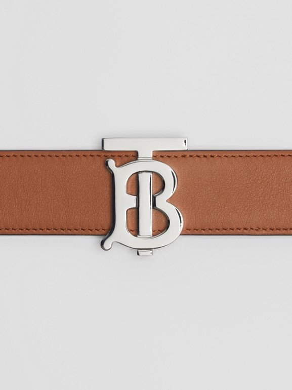 Reversible Monogram Motif Leather Belt in Malt Brown/black - Women | Burberry United Kingdom - cell image 1