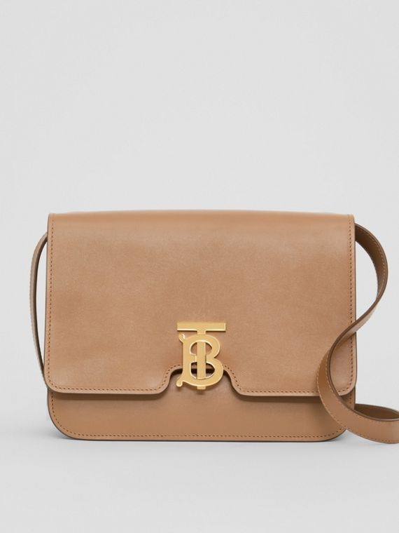 Medium Leather TB Bag in Light Camel
