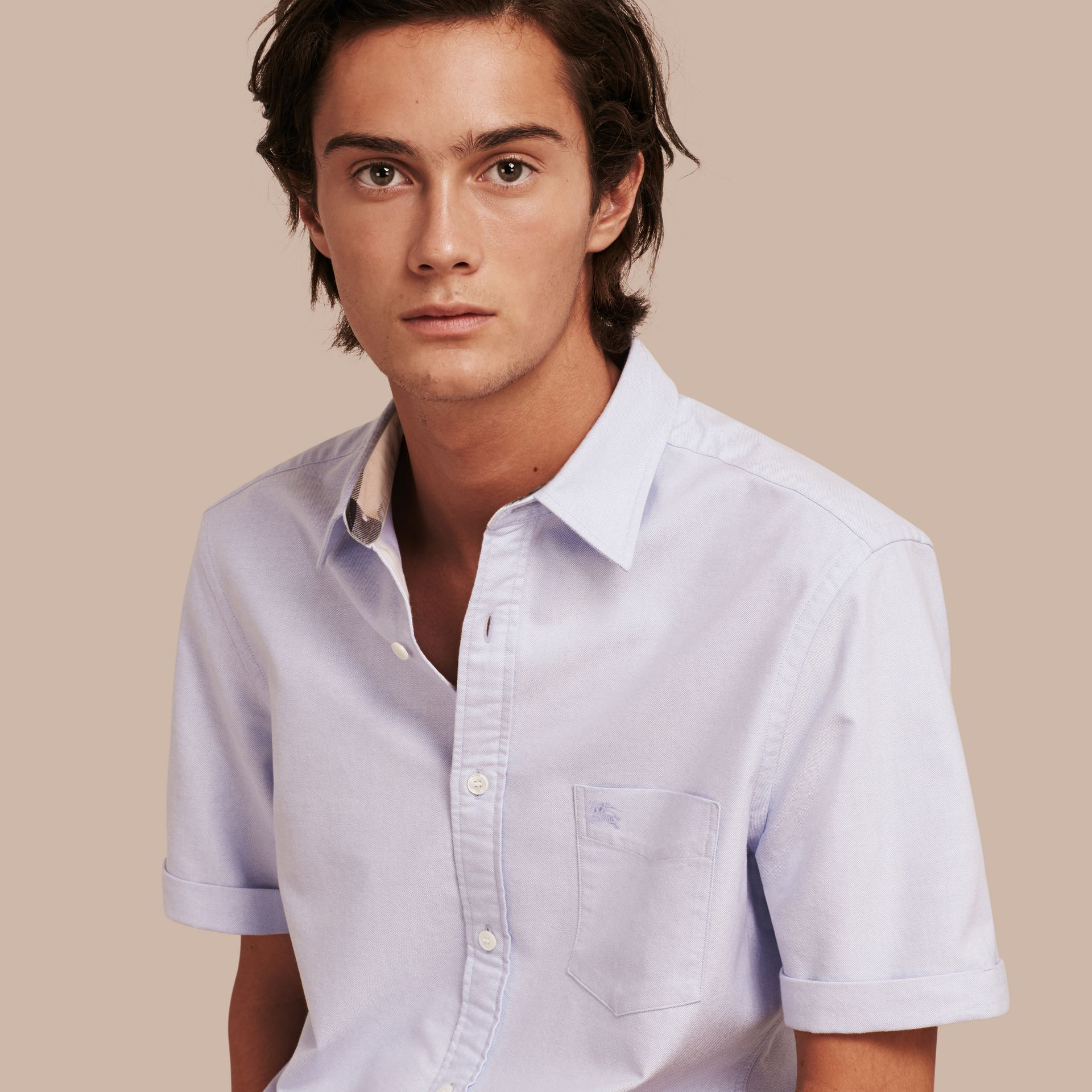 Check Detail Short-Sleeved Cotton Oxford Shirt in Cornflower Blue - Men | Burberry - gallery image 1