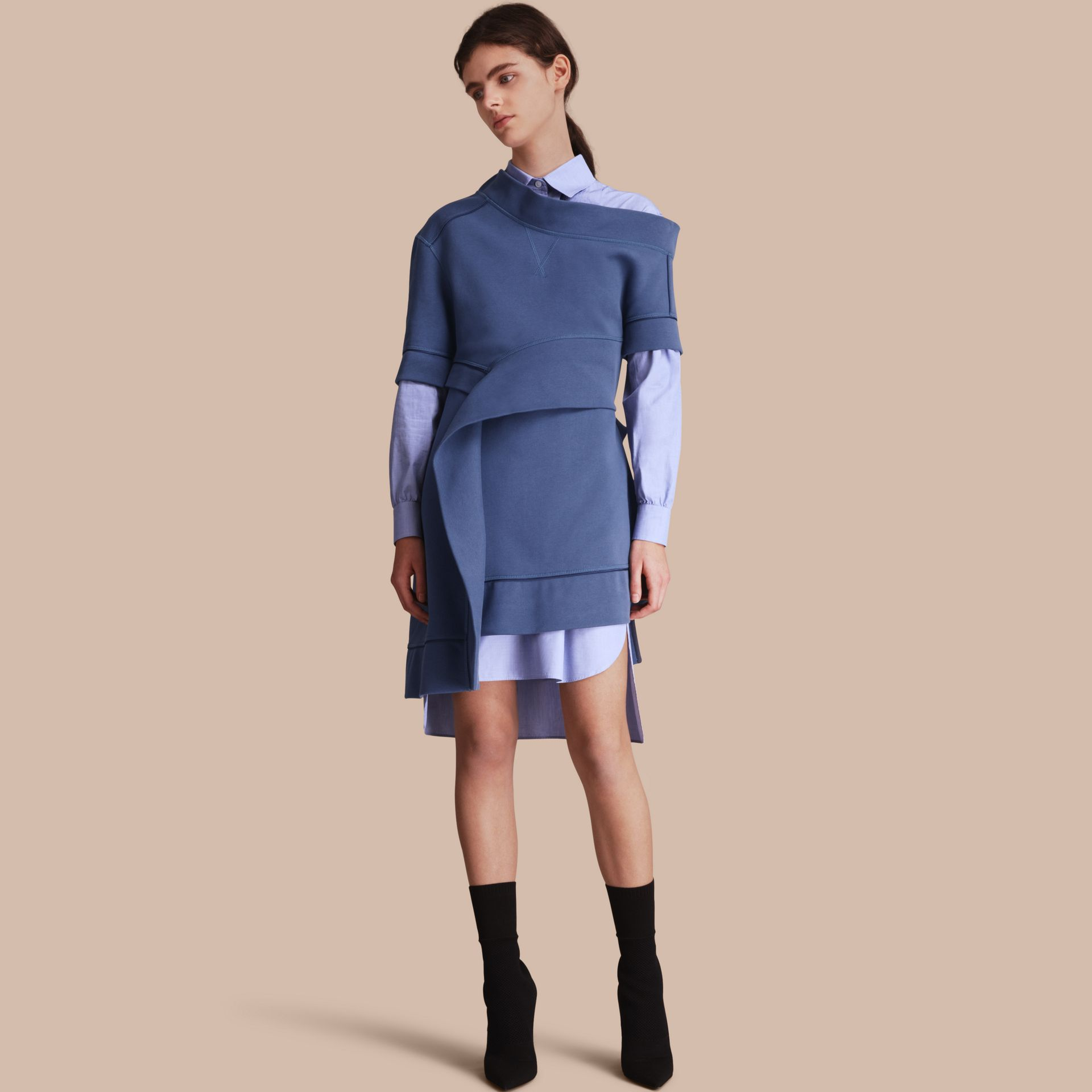 One-shoulder Sweatshirt Dress in Pewter Blue - Women | Burberry Singapore - gallery image 1