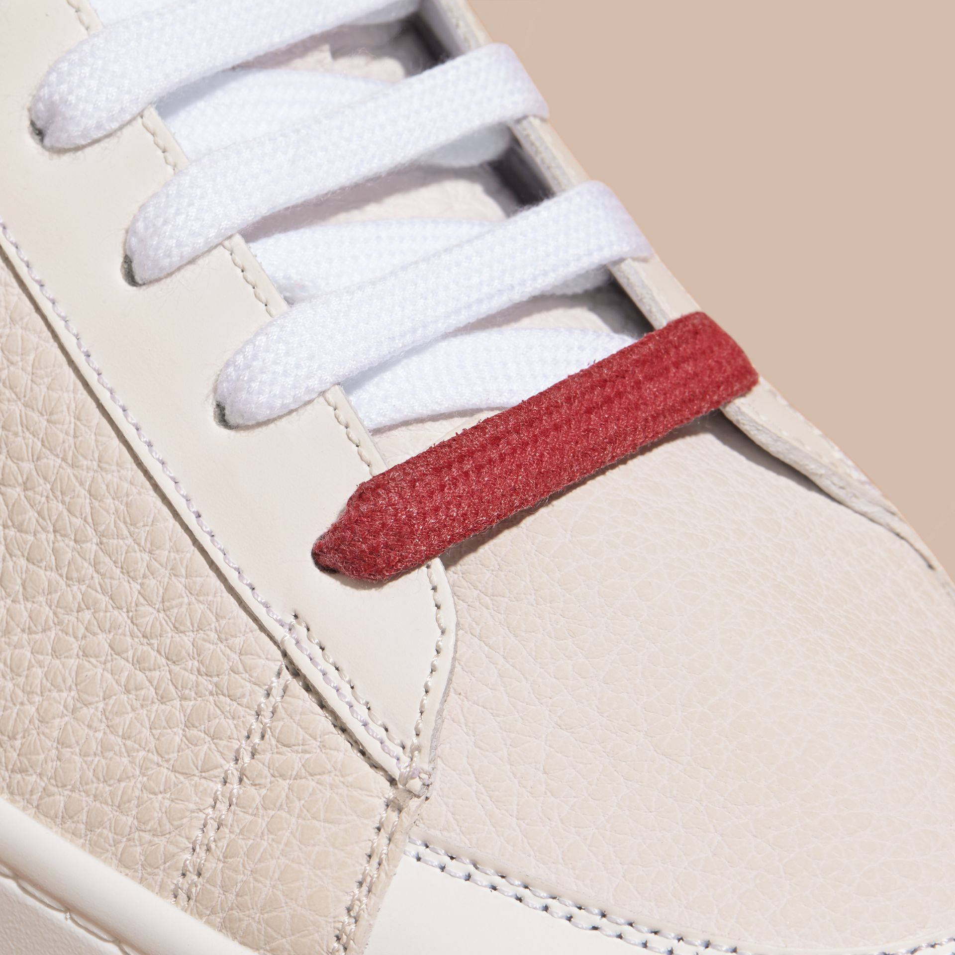 House check/optic white Check Detail Leather High-top Trainers House Check/optic White - gallery image 2