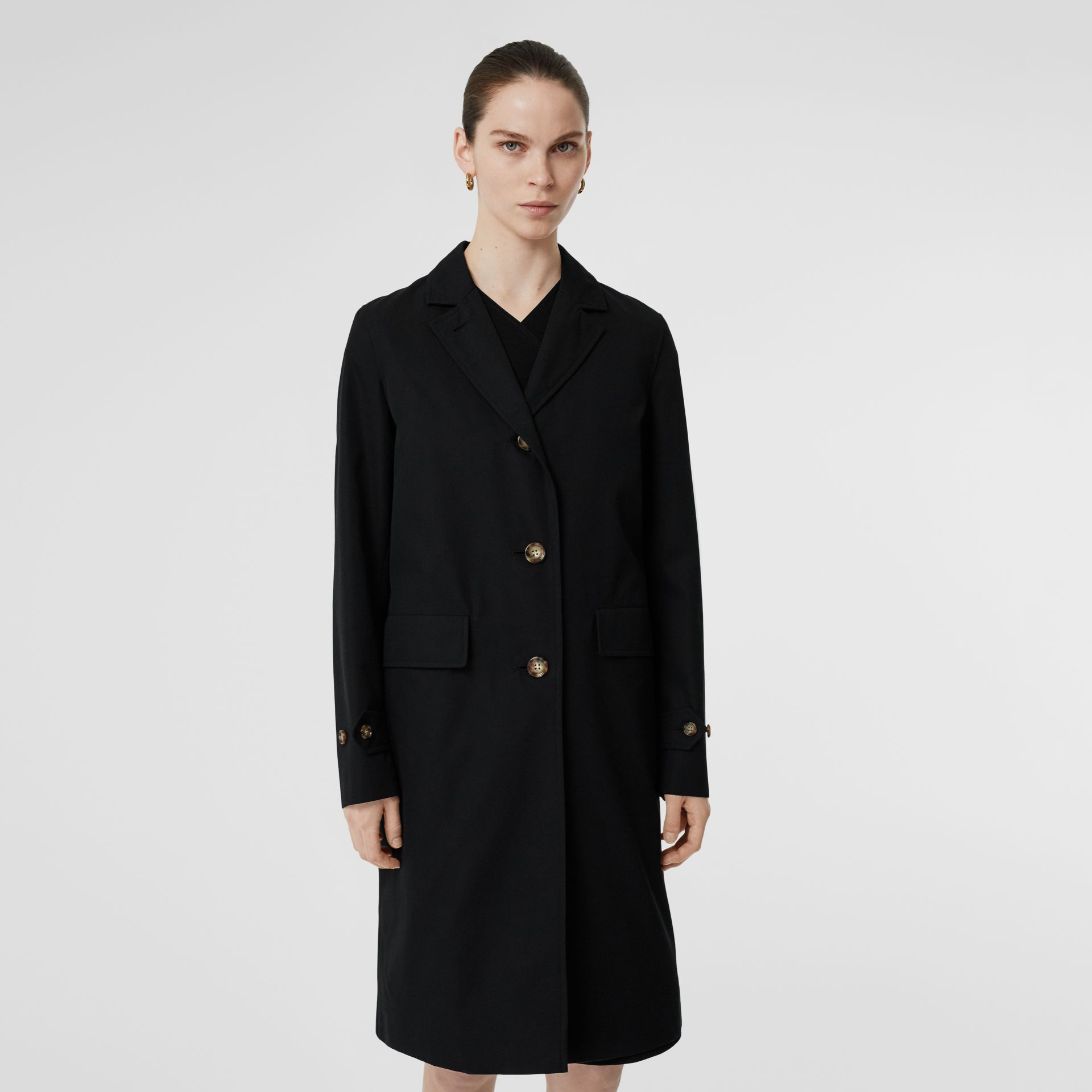 Cotton Gabardine Car Coat in Black - Women | Burberry - gallery image 5