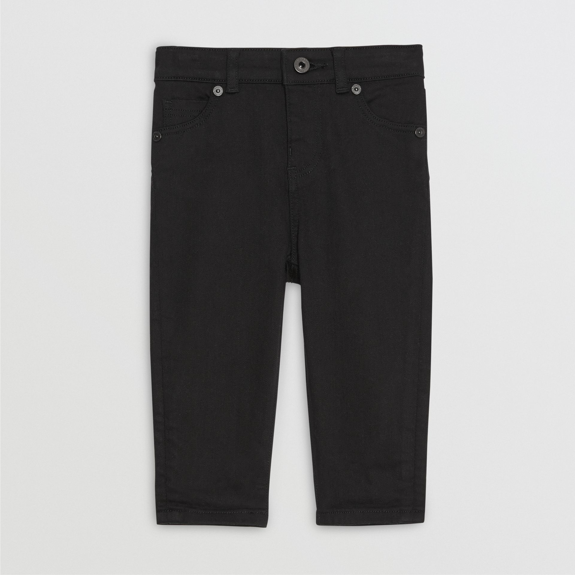Skinny Fit Stretch Denim Jeans in Black - Children | Burberry United Kingdom - gallery image 0