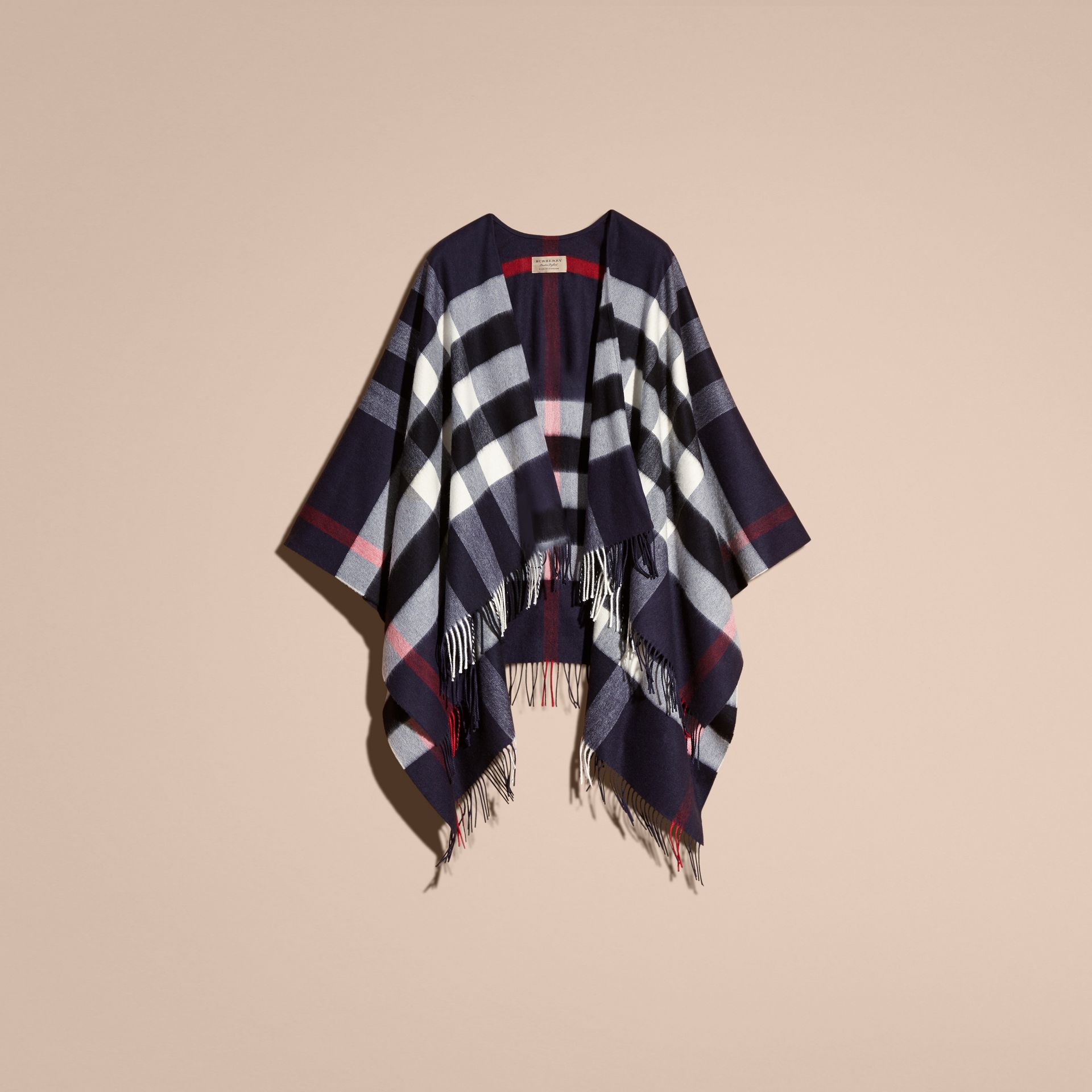Check Cashmere and Wool Poncho in Navy - Women | Burberry - gallery image 4