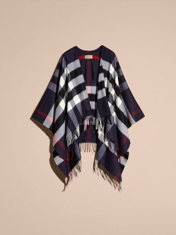 Check Cashmere and Wool Poncho in Navy - Women | Burberry - cell image 3