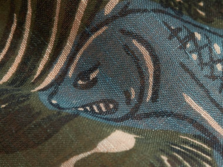 Beasts Print and Check Linen Scarf in Camel   Burberry - cell image 1