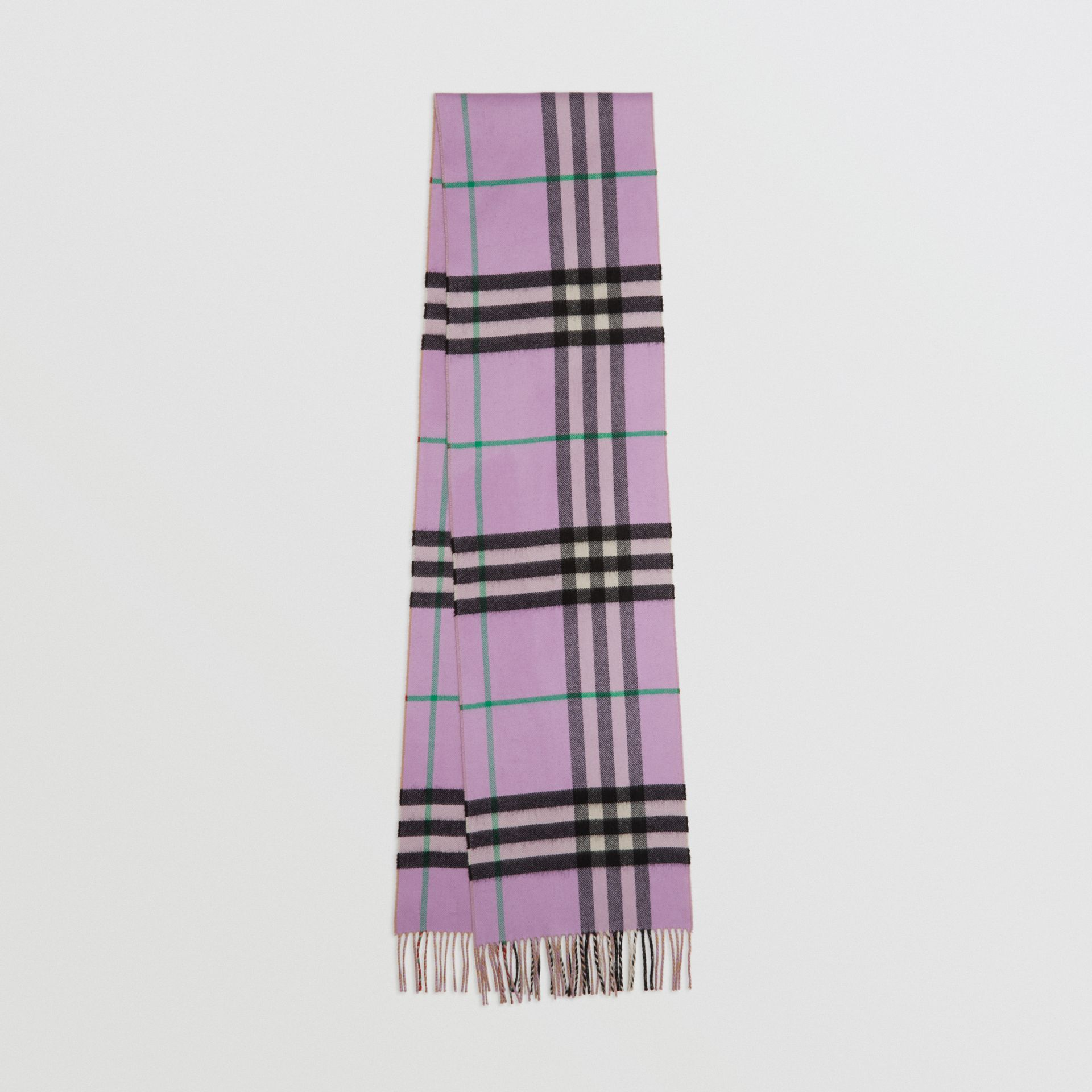 Long Reversible Check Double-faced Cashmere Scarf in Pale Heather | Burberry - gallery image 0