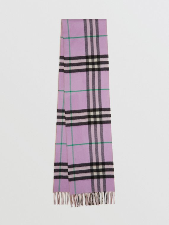 Long Reversible Check Double-faced Cashmere Scarf in Pale Heather