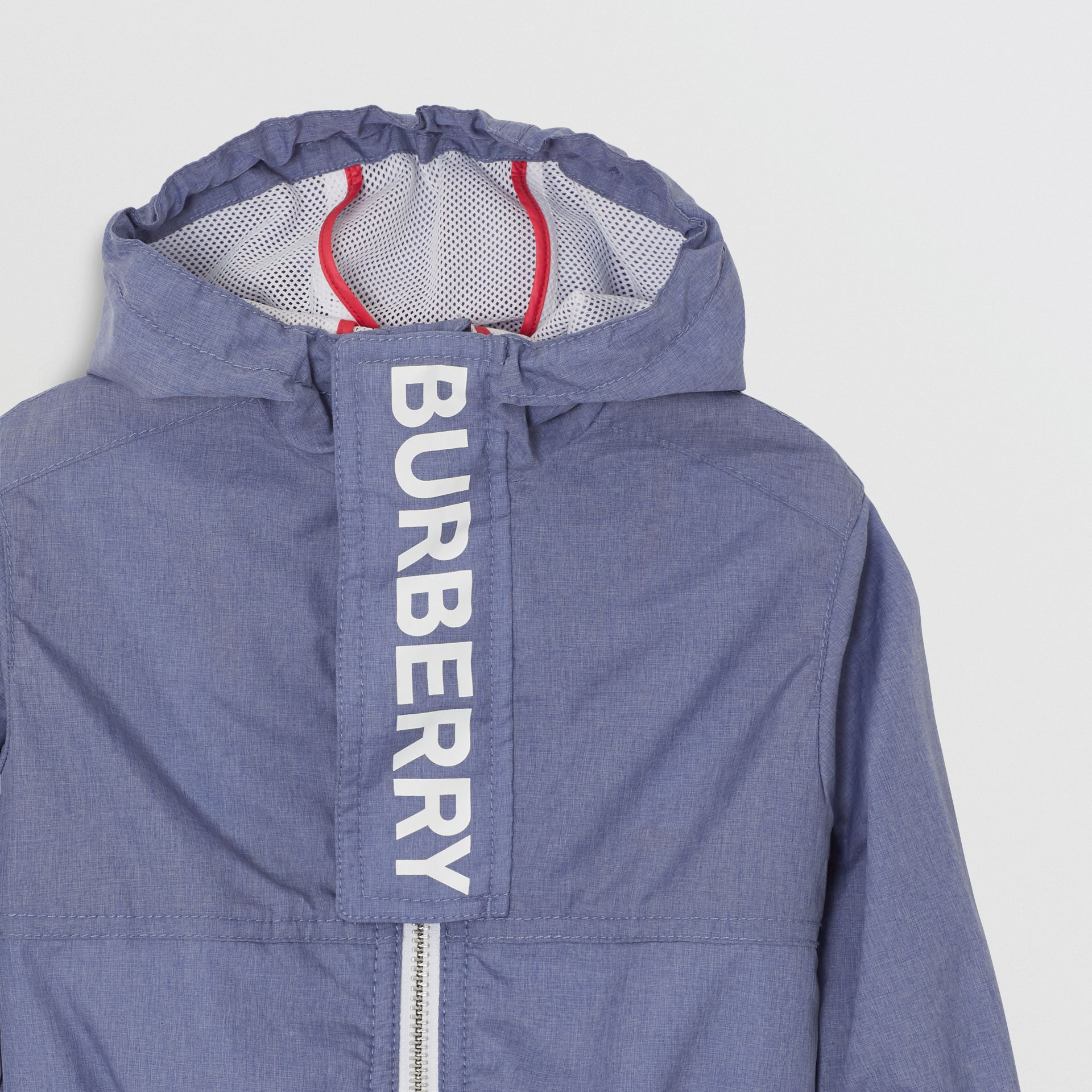 Logo Print Lightweight Hooded Jacket in Sapphire Blue - Children | Burberry Canada - gallery image 5