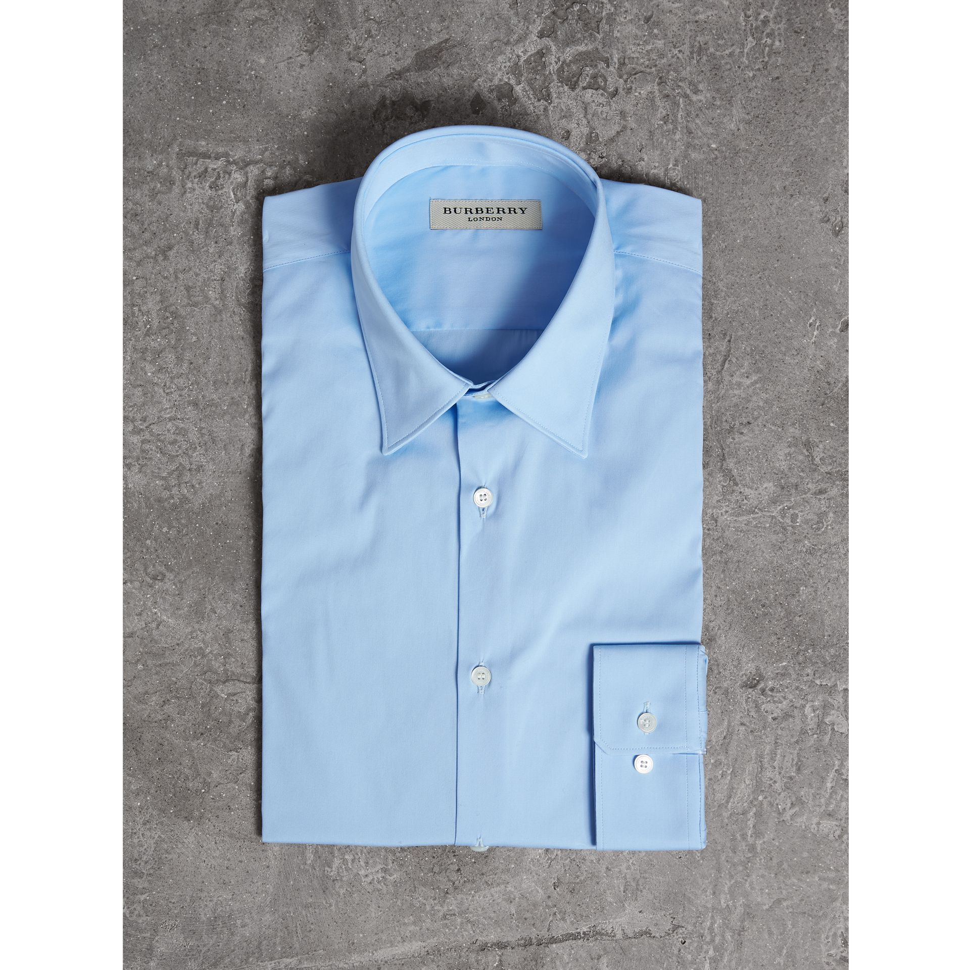 Slim Fit Stretch Cotton Shirt in City Blue - Men | Burberry - gallery image 3