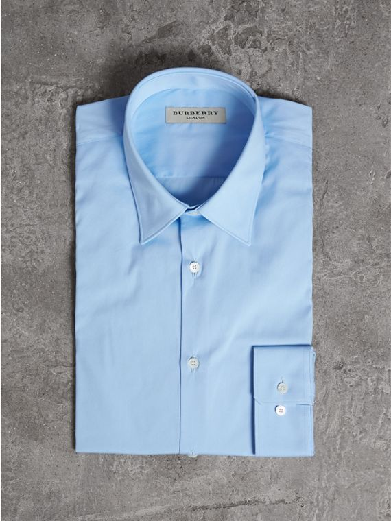 Slim Fit Stretch Cotton Shirt in City Blue - Men | Burberry United States - cell image 3