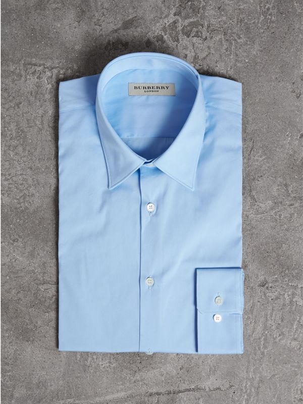 Slim Fit Stretch Cotton Shirt in City Blue - Men | Burberry United Kingdom - cell image 3