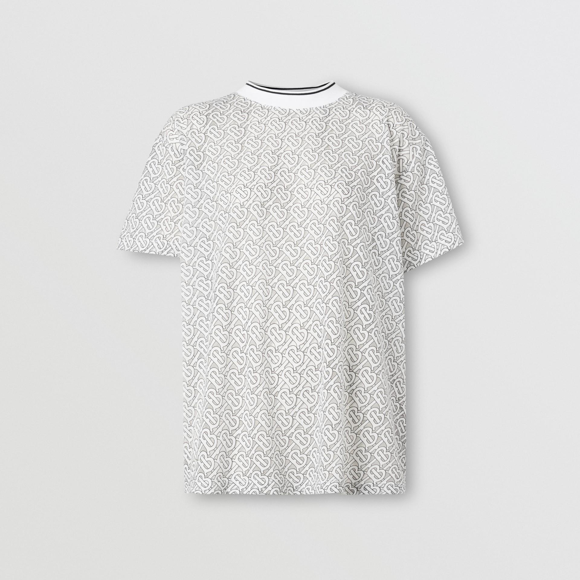 Monogram Devoré Oversized T-shirt in Off-white - Women   Burberry - gallery image 3