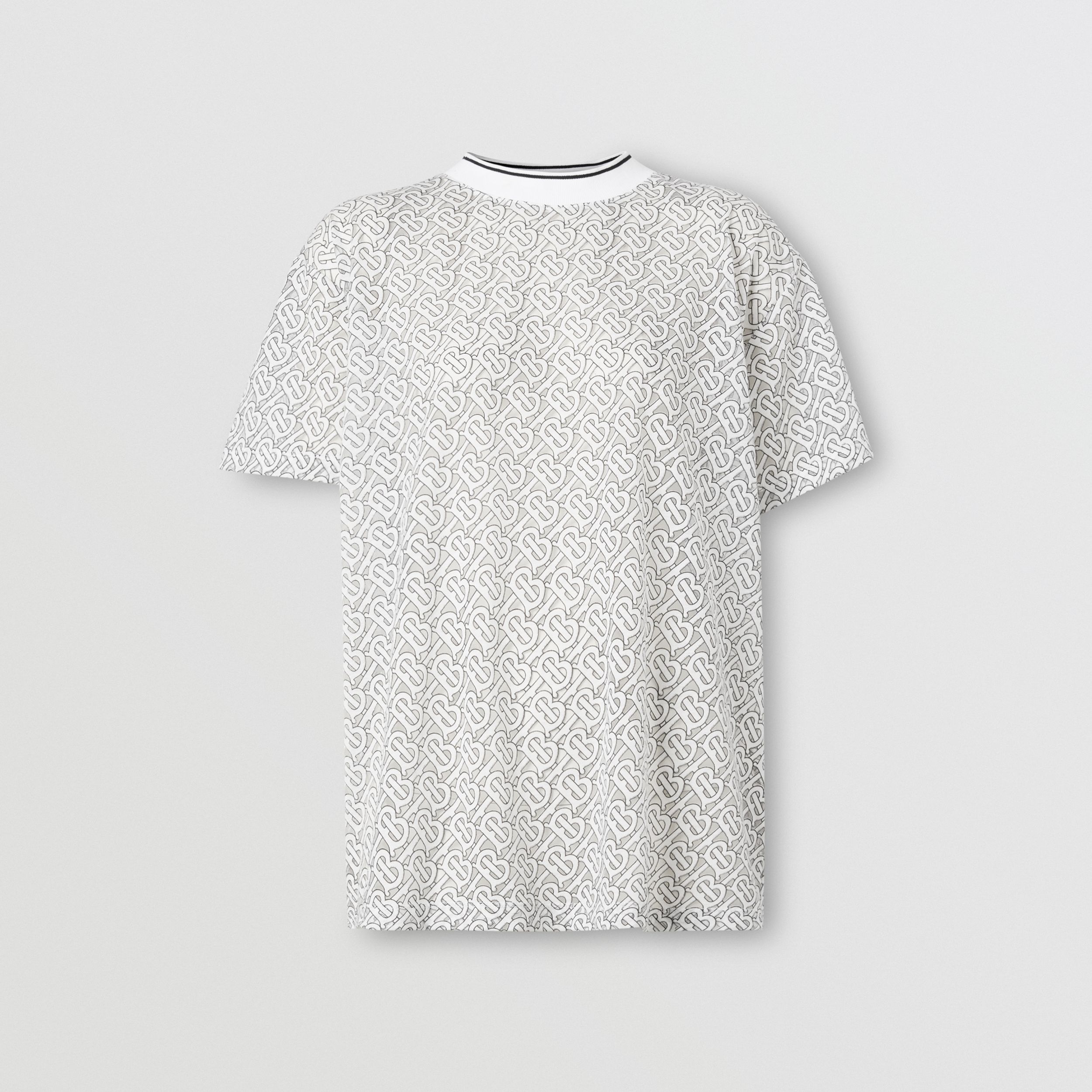 Monogram Devoré Oversized T-shirt in Off-white - Women | Burberry - 4