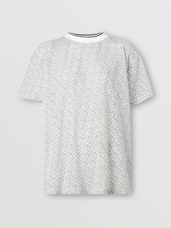 Monogram Devoré Oversized T-shirt in Off-white - Women   Burberry - cell image 3