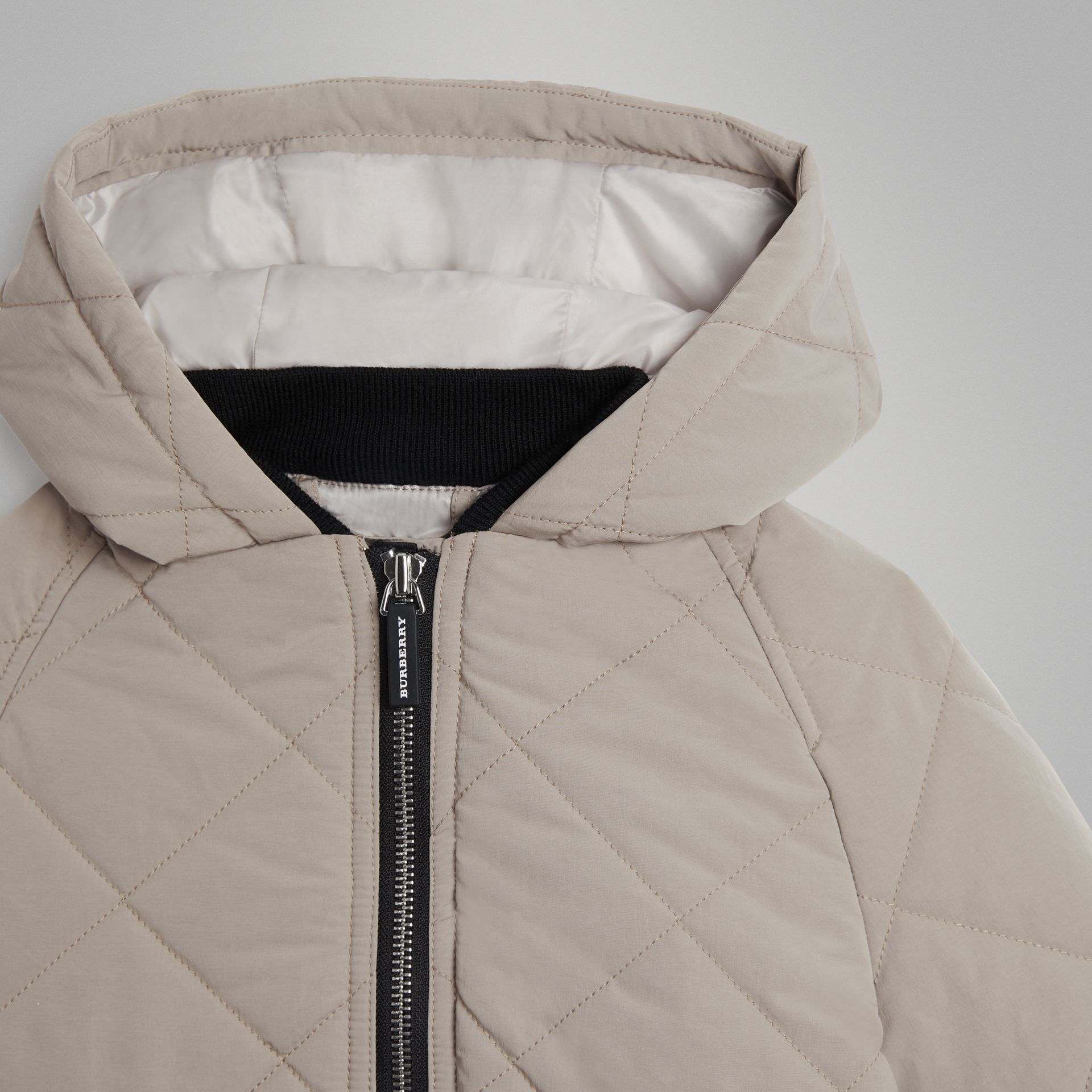 Diamond Quilted Hooded Jacket in Taupe | Burberry - gallery image 4