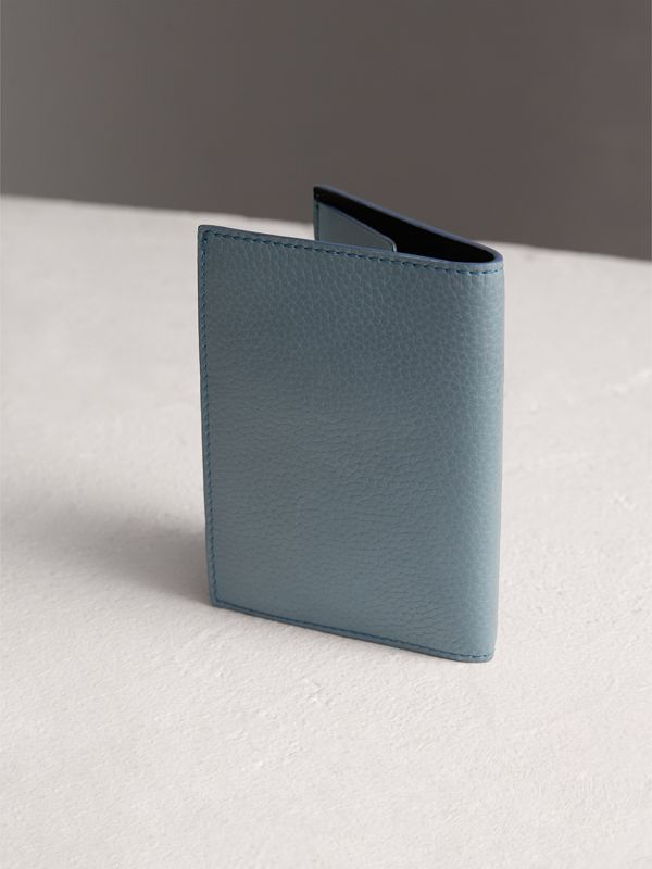 Embossed Leather Passport Holder in Dusty Teal Blue | Burberry - cell image 2