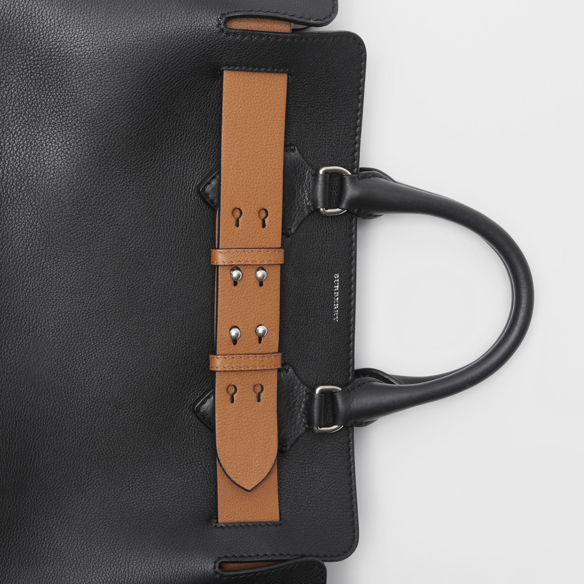 The Medium Leather Belt Bag in Black/tan - Women | Burberry - gallery image 1