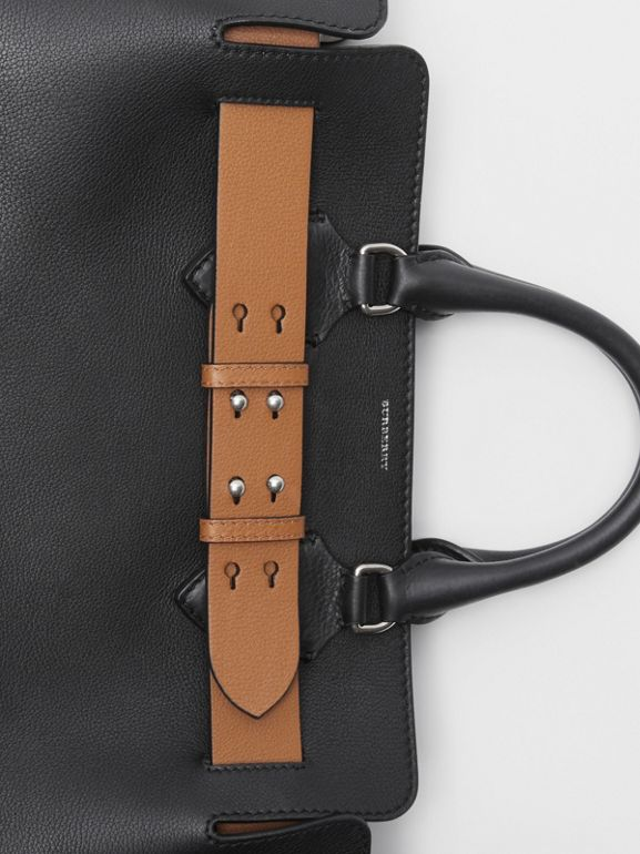 The Medium Leather Belt Bag in Black/tan - Women | Burberry - cell image 1