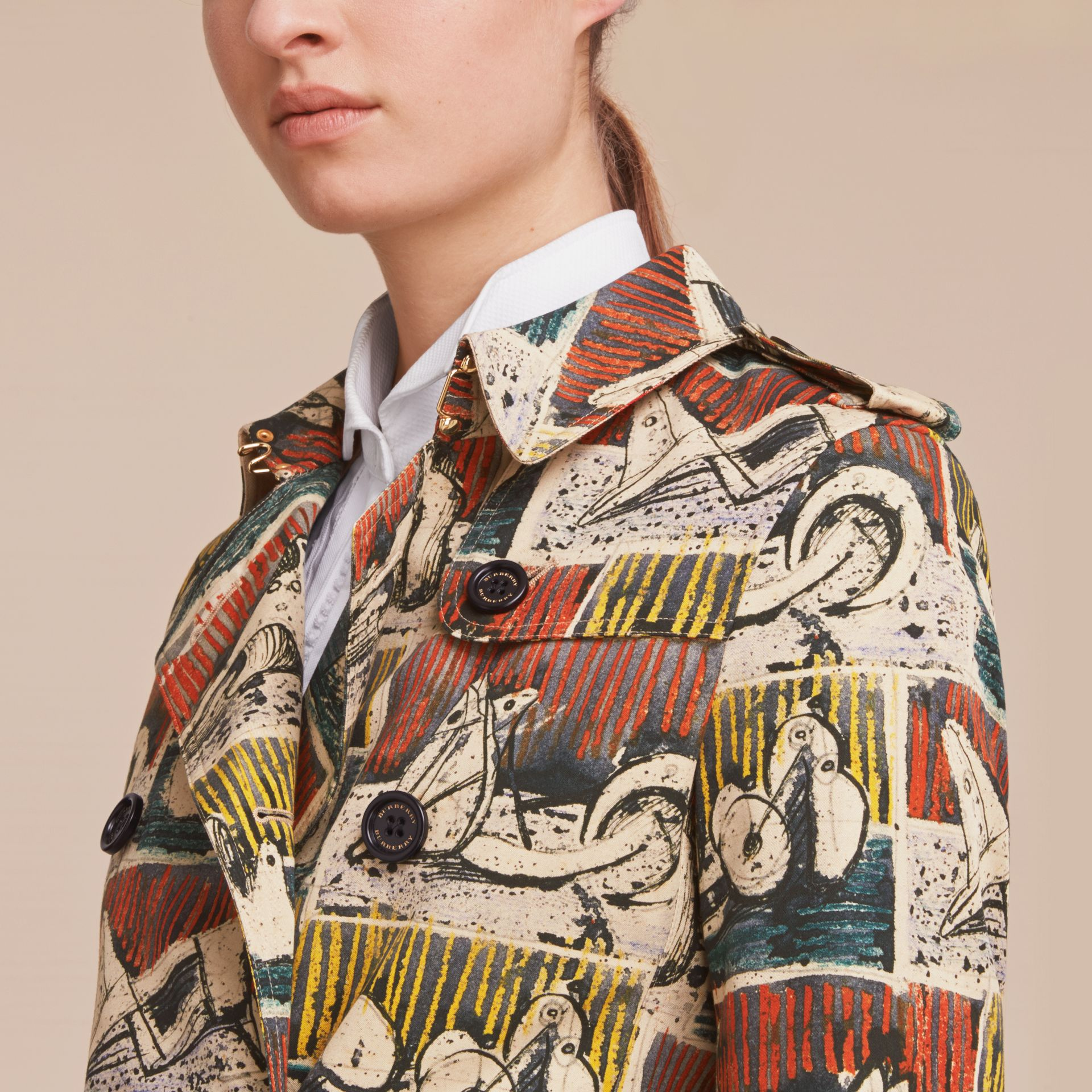 Reclining Figures Print Cotton Trench Coat in Stone Blue - Women | Burberry - gallery image 5